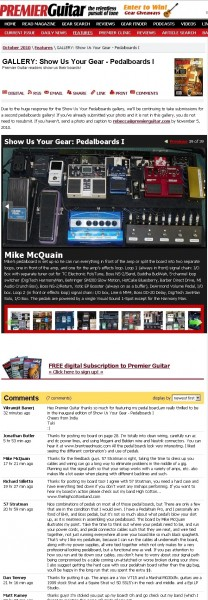 Pedalboard featured on Premier Guitar Magazine's website